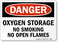 Oxygen Storage No Smoking Danger Sign