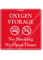 Oxygen Storage, No Smoking ShowCase Wall Sign
