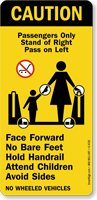 Passengers Only Stand at Right Escalator Plate
