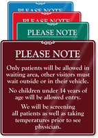 Patients Allowed In Waiting Area Visitors Wait ShowCase Sign