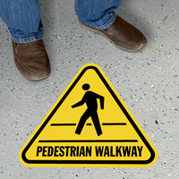 Pedestrian Walkway with Clipart, Triangle Floor Sign