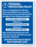 Personal Protection Policy Job Site Safety Sign