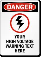 Customizable Danger, High Voltage Warning Sign