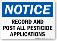 Record And Post All Pesticide Applications Sign