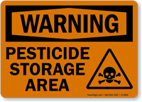 Warning Pesticide Storage Area Sign