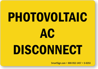 Photovoltaic Ac Disconnect Sign