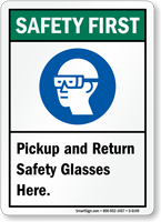 Pickup And Return Safety Glasses Here Sign