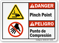Pinch Point Punto De Compresion Bilingual Danger Sign