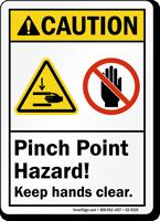 Caution Pinch Point Hazard Keep Hands Clear Sign