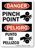 Danger Pinch Point, Punto De Pellizco Bilingual Sign