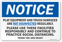 Play Equipment And Touch Surfaces Are Not Disinfected Sign