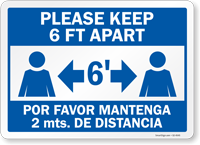 Please Keep 6 Ft Apart Bilingual Social Distancing Sign