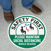 Please Maintain Social Distancing While Seated Floor Sign