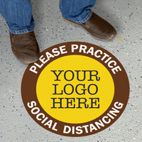 Please Practice Social Distancing Custom Floor Sign