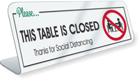 Please This Table Is Closed Social Distancing Desk Sign