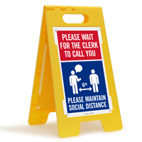 Please Wait For The Clerk To Call You FloorBoss Sign