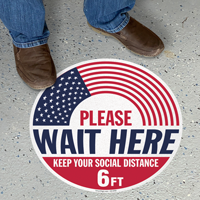 Please Wait Here Keep Your Social Distance 6ft SlipSafe Floor Sign