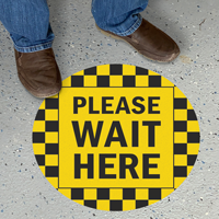Please Wait Here Social Distancing SlipSafe Floor Sign