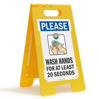 Please Wash Hands For At Least 20 Seconds FloorBoss Sign