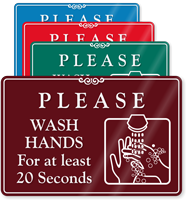 Please Wash Hands For At Least 20 Seconds ShowCase Sign