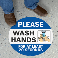 Please Wash Hands For At Least 20 Seconds SlipSafe Floor Sign