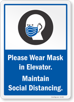 Please Wear Mask In Elevator Maintain Social Distancing Sign