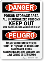 Bilingual Danger Poison Storage Keep Out Sign