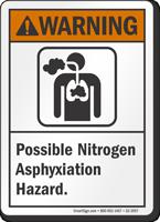 Possible Nitrogen Asphyxiation Hazard ANSI Warning Sign