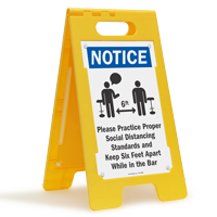 Practice Social Distancing And Maintain 6 Ft FloorBoss Sign