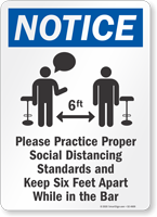 Practice Social Distancing And Maintain 6 Ft Sign