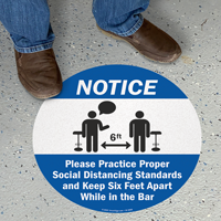 Practice Social Distancing And Maintain 6 Ft SlipSafe Floor Sign