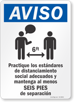 Practice Social Distancing And Maintain 6 Ft Spanish Sign