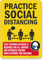 Practice Social Distancing Face Covering Required Sign