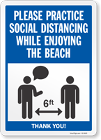 Practice Social Distancing While Enjoying The Beach Sign