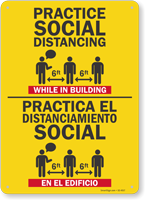 Practice Social Distancing While In Building Bilingual Sign