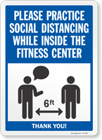 Practice Social Distancing While Inside Fitness Center Sign
