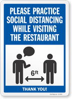Practice Social Distancing While Visiting Restaurant Sign