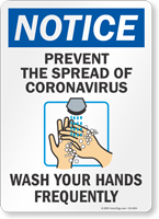 Prevent The Spread Of Coronavirus Notice Sign