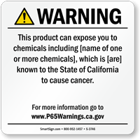 Consumer Product Exposure Prop 65 Sign