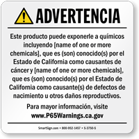 Custom Consumer Product Exposure Spanish Prop 65 Sign