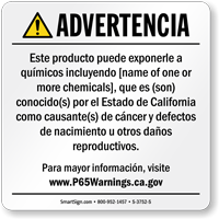 Custom Consumer Product Exposure Spanish Prop 65 Sign