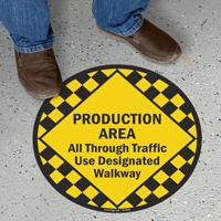 Production Area, Traffic Use Designated Walkways Sign