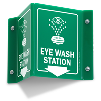 Eye Wash Station Down Arrow Projecting Sign