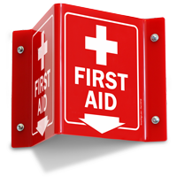 First Aid Red Projecting Sign With Down Arrow