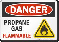 Propane Gas Flammable OSHA Danger Sign