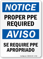 Bilingual Notice Proper Ppe Required Sign Sku S 7422