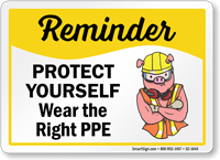 Wear Right Ppe Protect Yourself Safety Sign