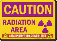 Radiation Area Video Surveillance Caution Sign