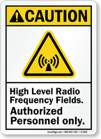 Caution (ANSI) High Radio Frequency Fields Sign
