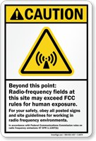 Radio Frequency Fields ANSI Caution Sign
